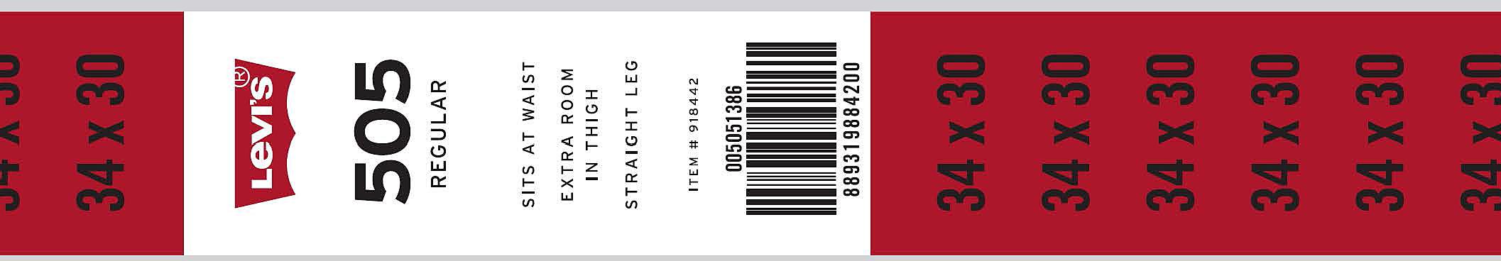 Size Stickers -Waist X Inseam 1-1/4