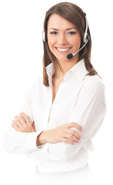 smiling woman dressed in white with arms crossed and headset on